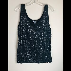 Old Navy Black Sequin Tank Top Loose Fitting
